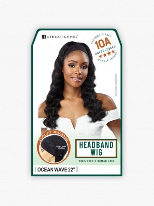 SENSATIONNEL 100% UNPROCESSED HUMAN HAIR 10A HEADBAND WIG OCEAN WAVE 22
