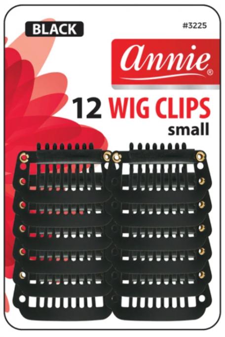ANNIE 12 WIG CLIPS SMALL BLACK #3225