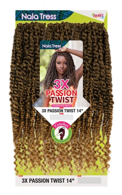 JANET COLLECTION NALATRESS SYNTHETIC HAIR CROCHET BRAID 3X PASSION TWIST 14