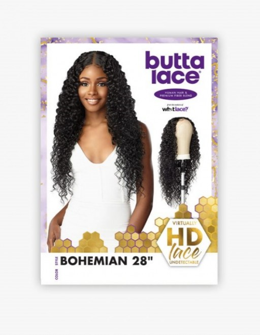 SENSATIONNEL BUTTA LACE HUMAN HAIR BLENDED HD LACE FRONT BUTTA BOHEMIAN 28