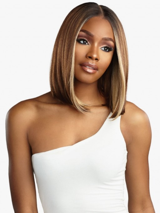 SENSATIONNEL BUTTA LACE HUMAN HAIR BLENDED HD LACE FRONT WIG BOB 12