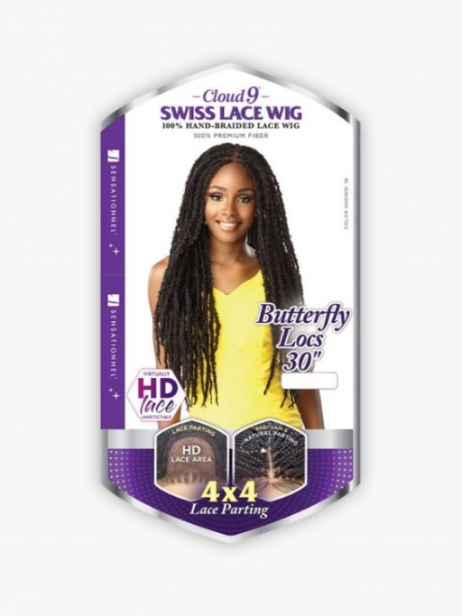 SENSATIONNEL SYNTHETIC CLOUD 9 4X4 BRAIDED LACE WIG BUTTERFLY LOCS 30