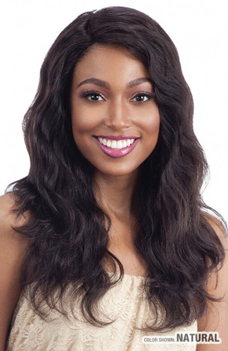 NAKED UNPROCESSED BRAZILIAN VIRGIN HUMAN HAIR DEEP INVISIBLE L PART LACE FRONT WIG NATURAL WAVY